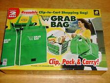 As Seen on TV ~ GRAB BAG ~ Reusable Clip to Cart Shopping  Bag Folds Flat 2 Pack