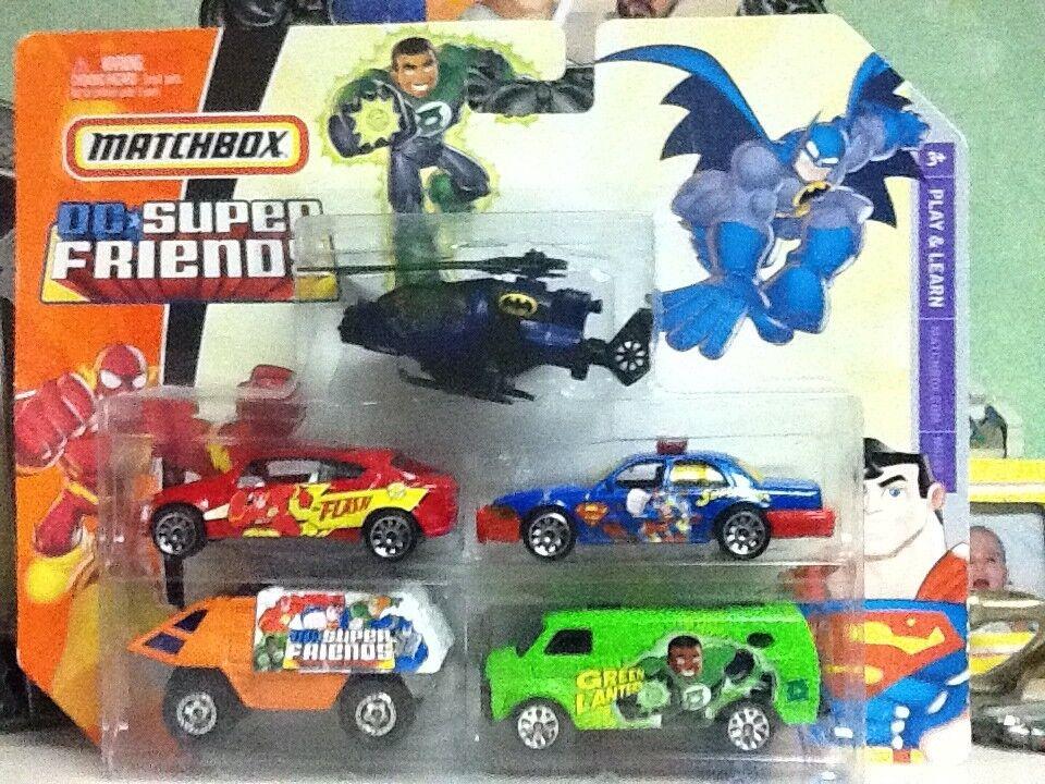 edición limitada Matchbox Raro baticóptero + Dc súper Amigos Amigos Amigos 2007 Paquete de 5 coches súperman + A estrenar  protección post-venta