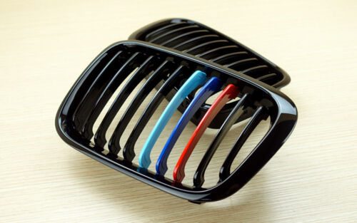 Para Bmw E46 4d 4door Sedan m-color Negro Piano Tipo Rejas Parrillas 99-01