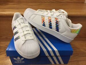 Adidas Superstar Junior Classic AZUL Zebra Iridescent SZ 11C 7y GS