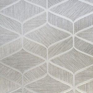 Gray-silver-bronze-metallic-faux-fabric-textured-geometric-wave-lines-Wallpaper