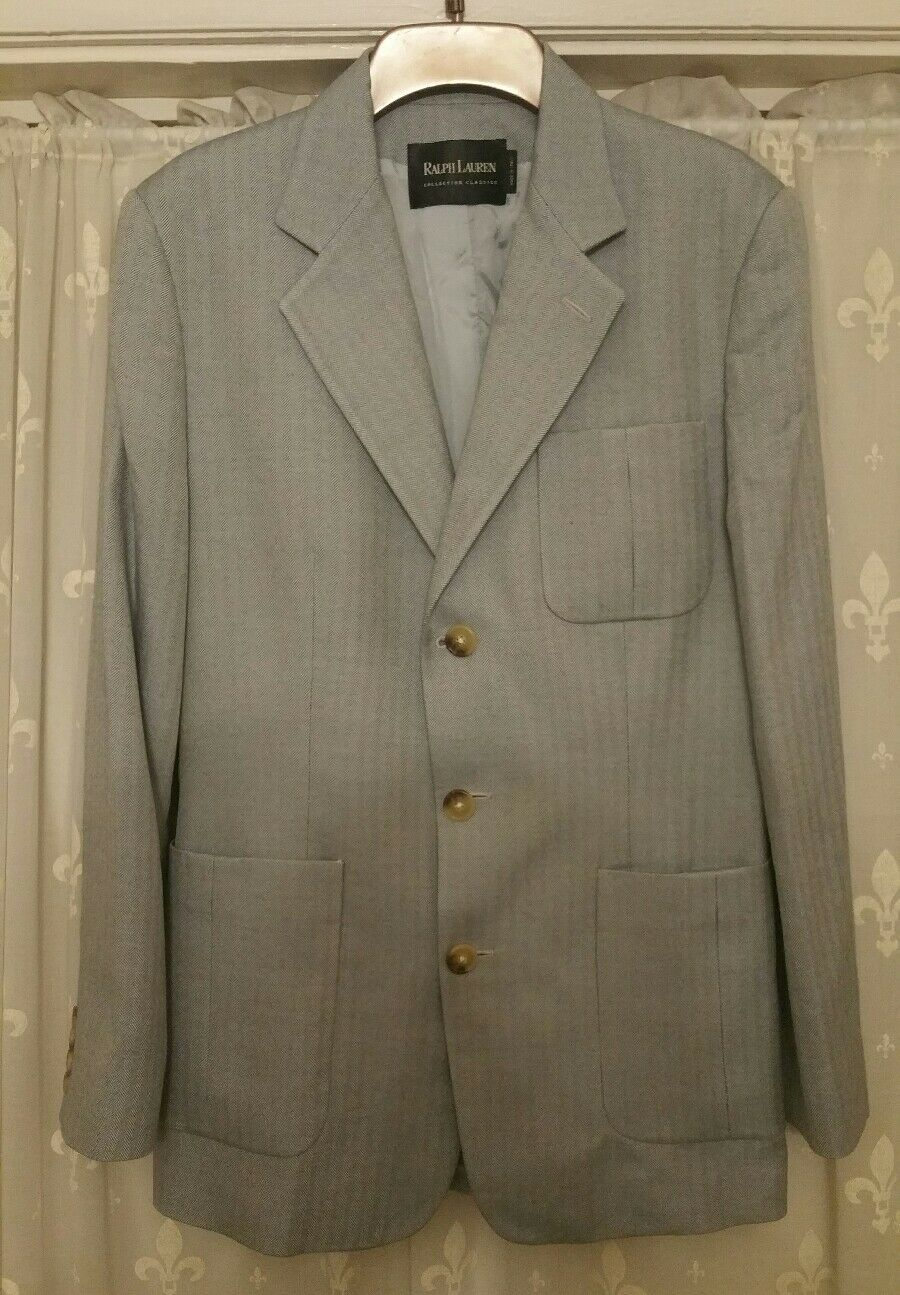 Luxury Ralph Lauren Cashmere & Silk Herringbone, Mens Blazer 38R in Light Grey