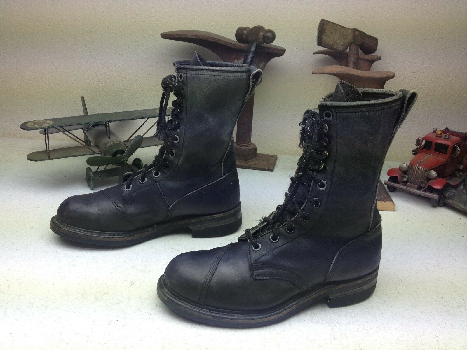 DISTRESSED VINTAGE STEEL TOE USA LACE UP MILITARY ENGINEER WORK BOOTS 9.5 M