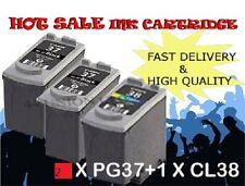 2x PG37 Black & 1x CL38 Colour Ink Cartridge For Canon Printer