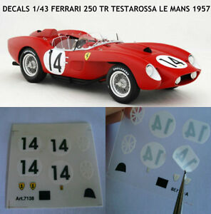 DECALS-TRANSFER-KIT-1-43-FERRARI-250TR-TESTAROSSA-LE-MANS-1957-NEW
