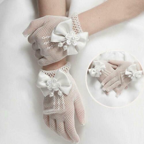 Creme Spitze Perle Fischnetz Handschuhe Kommunion Party Hochzeit-Blumenmädc F4I1
