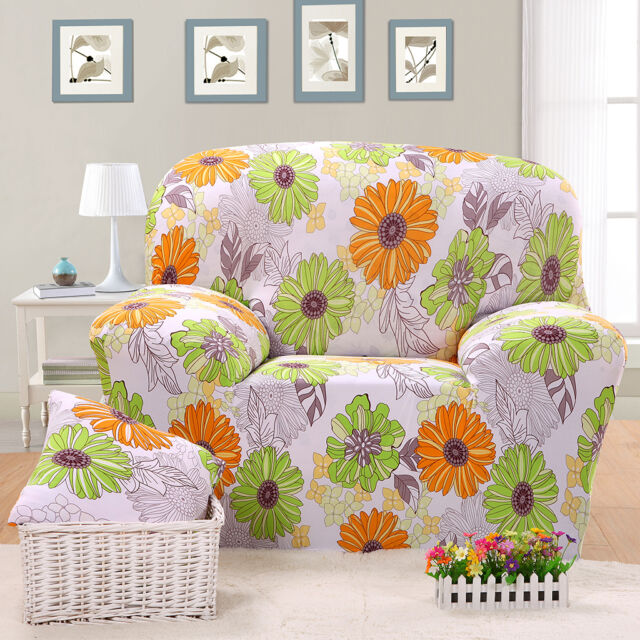 Spandex Elastic Chair Sofa Cover Cushion Couch Settee Slipover-Sunflower