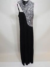 Women Black & silver party wedding glitted dress with train Evening US S free sh