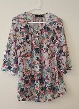 APT9 SZ OX OR XL SHIRT BUTTONS MULTI COLOR SHEER 3/4 SLEEVES FLORAL TOP WOMEN