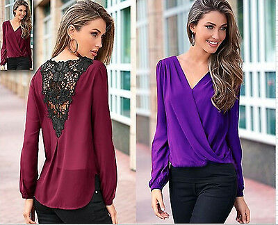 Fashion Sexy V-neck Women Chiffon Tops Long Sleeve Shirt Blouse T-Shirts Lace T