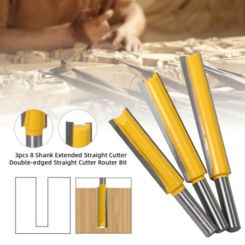 3PCS 8mm Shank Long Straight Router Bit Woodworking Cutter Wood Cutting Tools