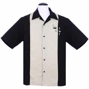 Men/'s Steady Guitar shirt rockabilly bowling garage shirt Red white and black
