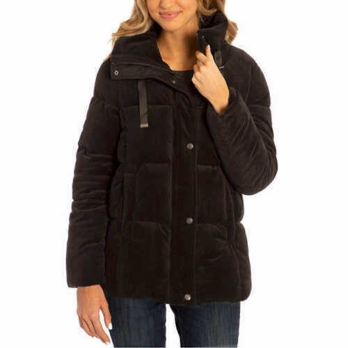 Isaac Mizrahi Womens Velvet Puffer Jacket Plush Velour Zip Up Winter Coat NWT