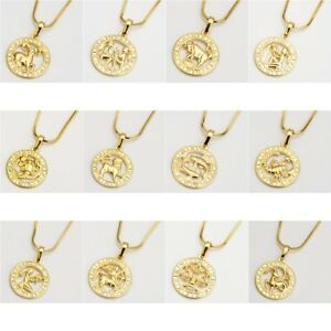 12-Horoscope-Pendant-Necklace-18k-Yellow-Gold-Filled-18-034-Chain-Fashion-Jewelry