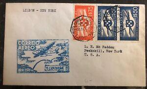 1939-Lisbon-Portugal-First-Flight-cover-FFC-To-Peekskill-New-York-USA