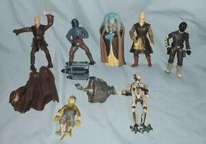"7- STAR WARS Clone Wars 4"" Figures & Accessories. Hasbro 2002- Set of 10 Pieces"