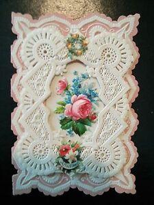 "#Original 1800's Victorian Lace Valentine Card ""My Joy"" 2.5 x 3.75"""