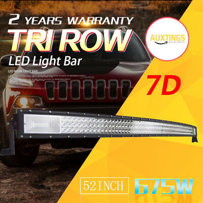 52inch CURVED TRI-ROW 675W LED Light Bar Flood Spot Driving Lamp Offroad Ford 7D