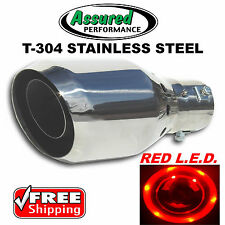 Red LED Stainless Steel Muffler Exhaust Tip 12v DC Super Bright EZ Clamp On