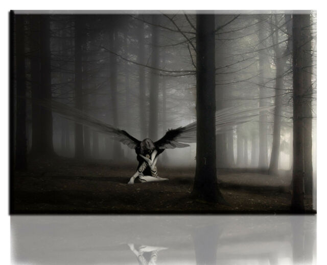 Wall Art Canvas Picture Print of Lonely Angel in Dark Forest