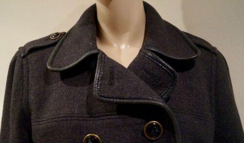 antracite Giacca esterno Coach L Grigio in con Leatherware Giacca pelle in da pelle finiture O77tEan