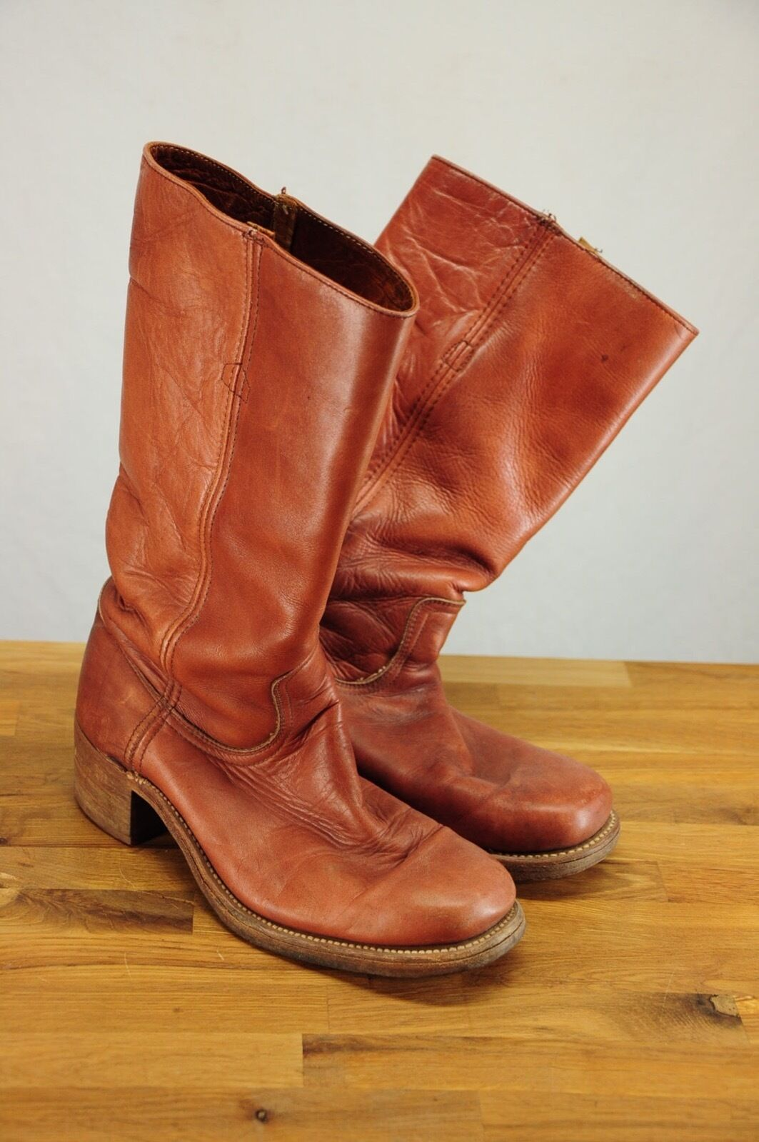 Vintage FRYE Campus Stivali Thick Saddle Brown Pelle in Made in Pelle  A Pull On 8.5D b54314
