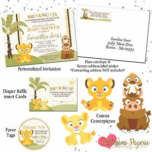 Lion king inspired simba baby shower invitation package 12 sets image is loading lion king inspired simba baby shower invitation package filmwisefo
