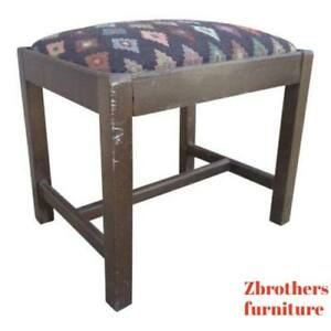 antique-Chippendale-salesman-sample-doll-foot-stool-Ottoman-bench-flame-stitch