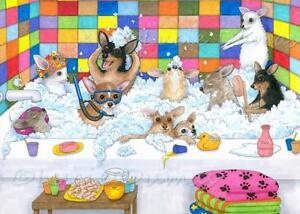 ACEO-funny-art-print-from-art-painting-Dog-121-Chihuahua-in-bath-by-L-Dumas