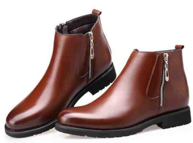 Men's High Top Fur Lined Winter Snow Boots Zipper Leather Chukka Dress shoes New