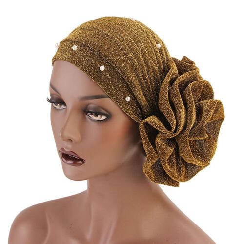 Muslim Turban Cap Women Flower Cancer Chemo Hat Hijab Hair Loss Head Scarf