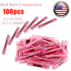 100x Heat Shrink Butt Wire Splice Seal Connectors Crimp Terminals Red 22-18 AWG