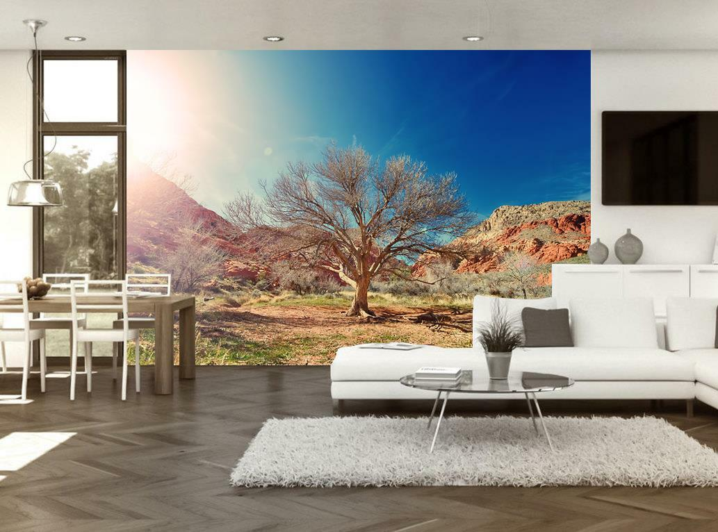 Photo Wallpaper Woven Self-Adhesive Wall Mural Art Desert Tree Nature M57