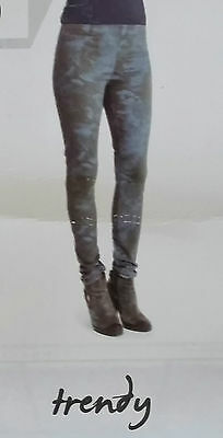 Donna Tregging Oliva-grigio Motivo Floreale Pantaloni Varie Misure-