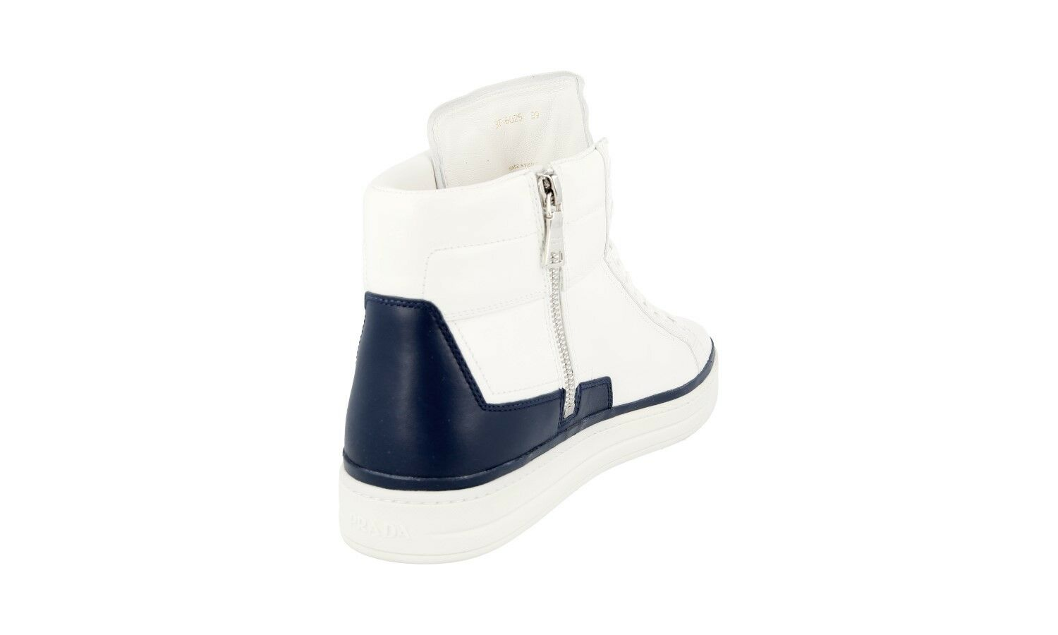 AUTH AUTH AUTH PRADA HIGH TOP SNEAKERS SHOES 3T6025 WHITE + blueE US 9 EU 39 39,5 UK 6 980280