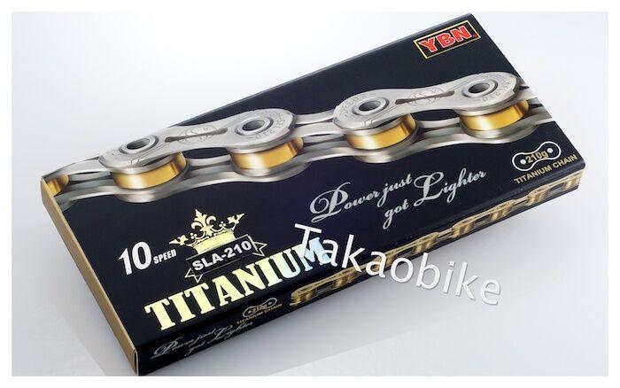 [US Seller] New Super Lightweight YBN Titanium 10 Speed Bike Chain SFL 210 gold