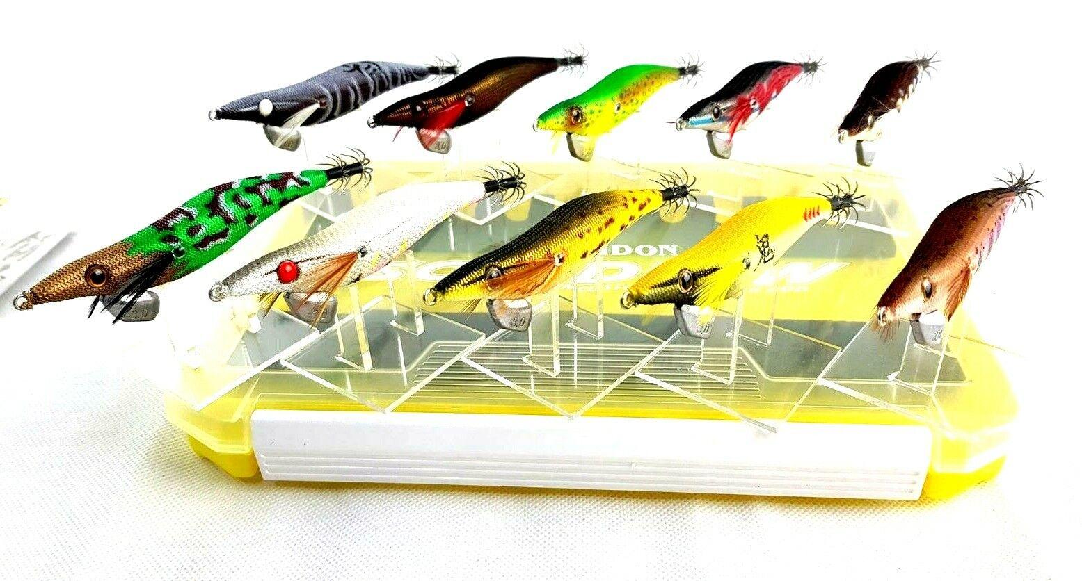 Gan Craft Egi kit  egi-jya 3.0 x 10  squid jigs  w evergreen egi box as pictured  excellent prices