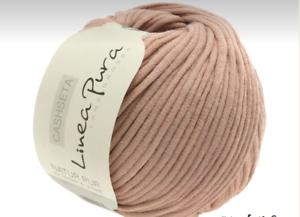 Lana Grossa linea pura cashseta 50g suave y cálida FB 05 rosas de madera