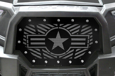 Custom Steel Grille USAF for Polaris  RZR 1000 900 S XP 2014-18 UTV Grill BLACK
