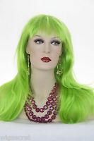 Green Fun Color Long Skin Top Straight Wigs