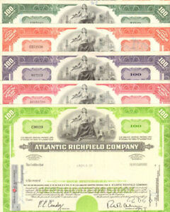 Atlantic-Richfield-Company-gt-ARCO-oil-amp-gas-gt-lot-of-5-stock-certificates-share