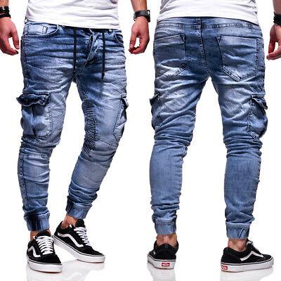 BEHYPE Jeans Herren Biker Style Röhrenjeans Slim Fit Chino Hose BlauSchwarz NEU | eBay