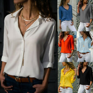 US-Women-039-s-Chiffon-Casual-Button-Down-Shirt-Blouse-Long-Sleeve-V-Neck-Tops
