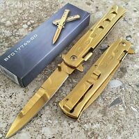 "8.5"" LIMITED EDITION ALL GOLD STILETTO SPRING ASSISTED OPEN POCKET KNIFE 300102S"