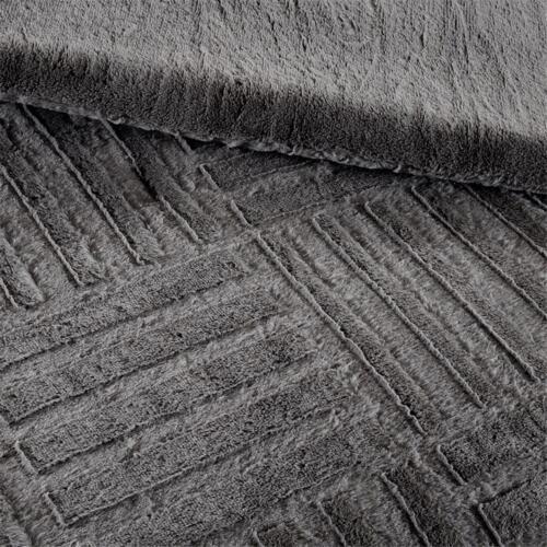 Deluxe Sheared Brown Grey Faux Fur  Warm Down Alt Comforter Sham King Queen Set