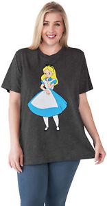 Women-039-s-Plus-Size-Alice-in-Wonderland-T-Shirt-Charcoal