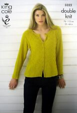 173f5851b7b89d Knitting Pattern King Cole 3322 Ladies DK Long Length Sweater   Cardigan