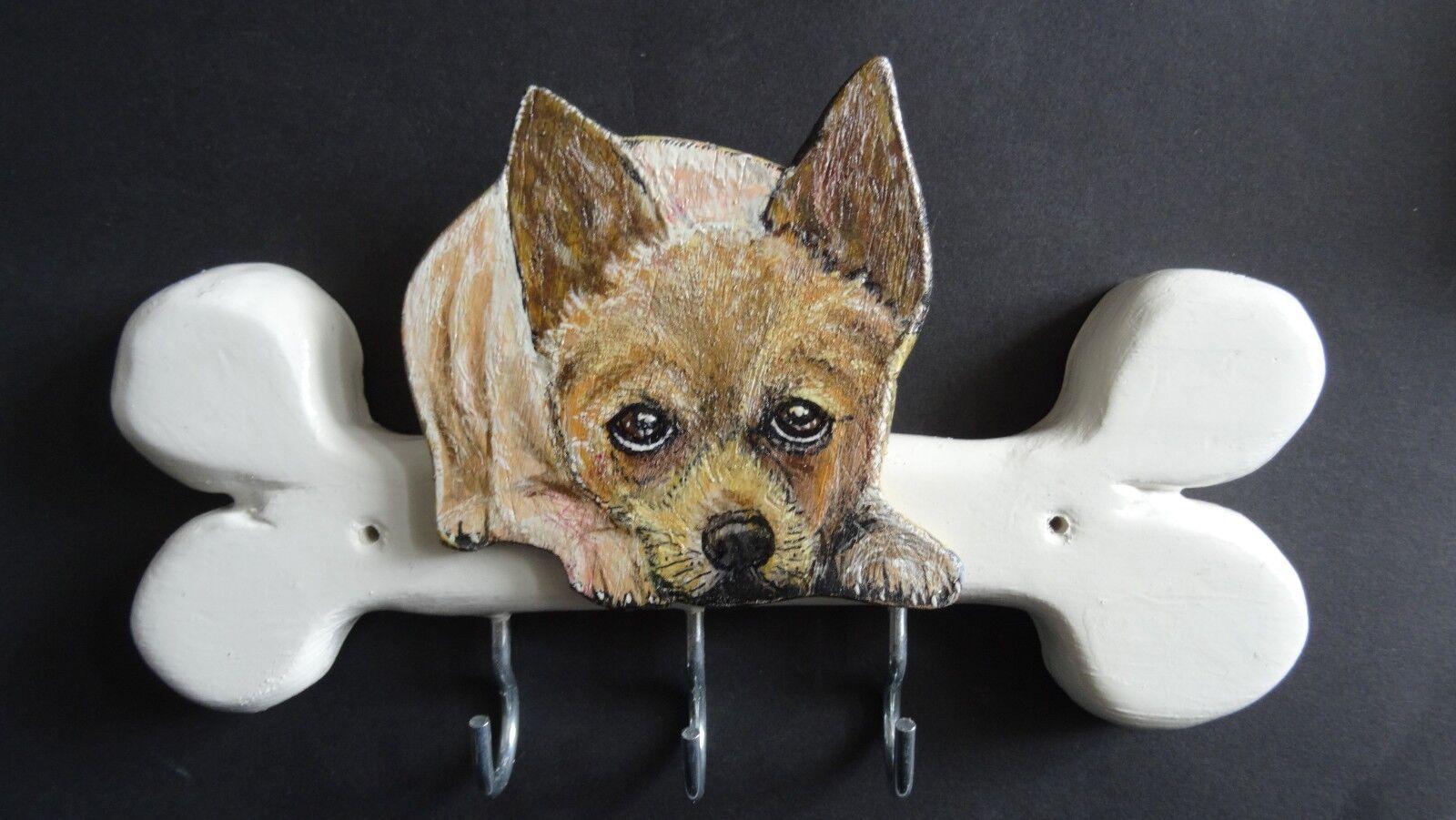 Leinengarderobe mit dem gemalten Motiv Ihres Hundes   Handarbeit