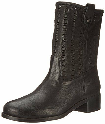 $478 size 7.5 Delman Merci Black Leather Mid Calf Boots Womens Shoes