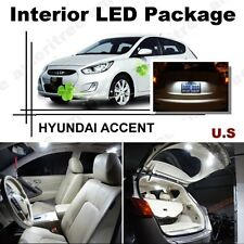 For Hyundai Accent 2012-2016 Xenon White LED Interior kit + White License Light